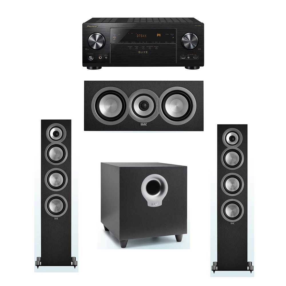 ELAC Uni-Fi 3.1 System with 2 ELAC UF5 Floorstanding Speakers, 1 UC5 Center Speaker, 1 ELAC Debut S10 Powered Subwoofer, 1 Pioneer VSX-LX302 A/V Receiver