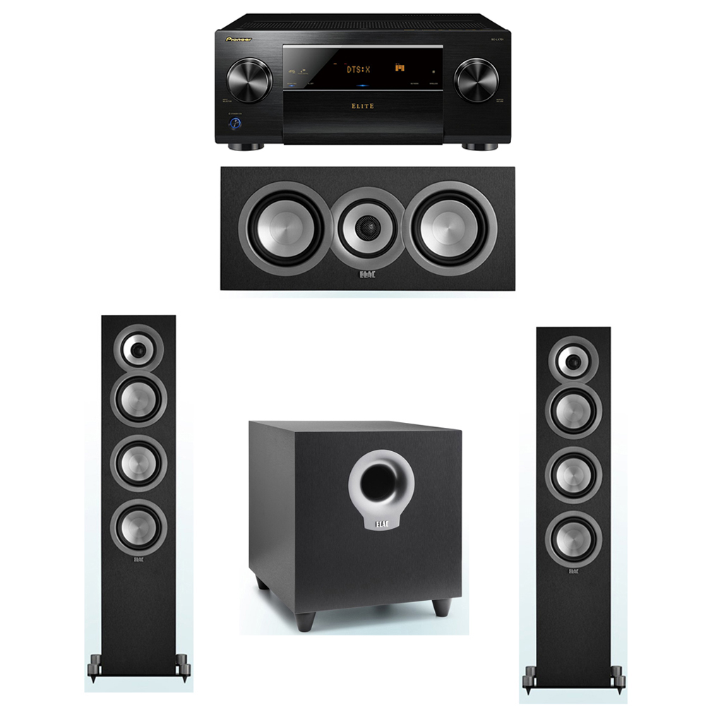 ELAC Uni-Fi 3.1 System with 2 ELAC UF5 Floorstanding Speakers, 1 UC5 Center Speaker, 1 ELAC Debut S10 Powered Subwoofer, 1 Pioneer SC-LX701 A/V Receiver