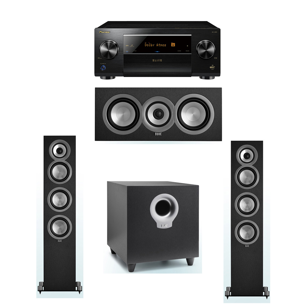 ELAC Uni-Fi 3.1 System with 2 ELAC UF5 Floorstanding Speakers, 1 UC5 Center Speaker, 1 ELAC Debut S10 Powered Subwoofer, 1 Pioneer SC-LX801 A/V Receiver