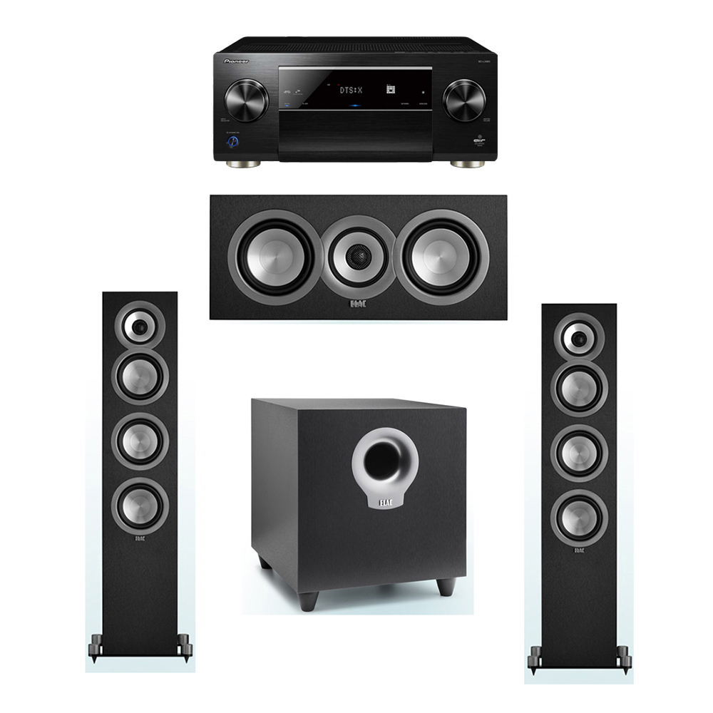 ELAC Uni-Fi 3.1 System with 2 ELAC UF5 Floorstanding Speakers, 1 UC5 Center Speaker, 1 ELAC Debut S10 Powered Subwoofer, 1 Pioneer SC-LX901 A/V Receiver