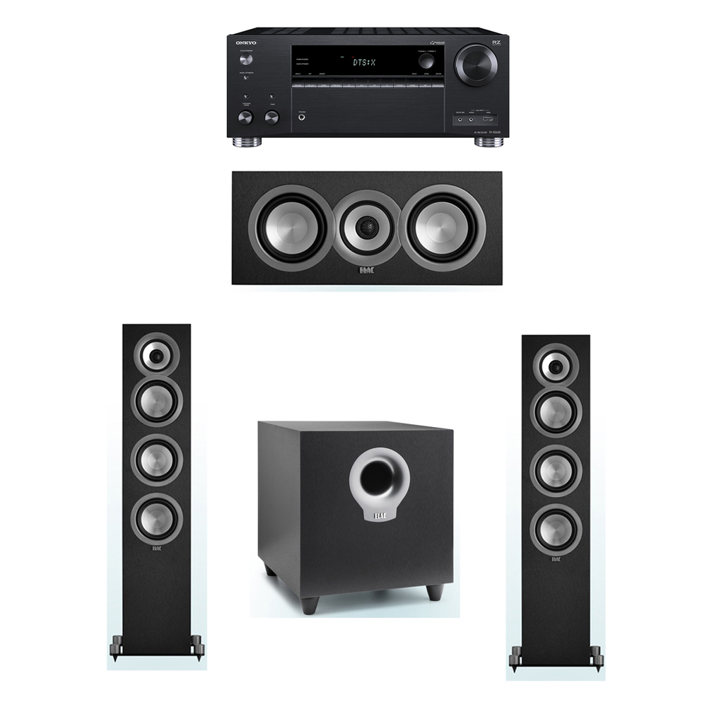 ELAC Uni-Fi 3.1 System with 2 UF5 Floorstanding Speakers, 1 UC5 Center Speaker, 1 ELAC Debut S10 Powered Subwoofer, 1 Onkyo TX-RZ620 A/V Receiver