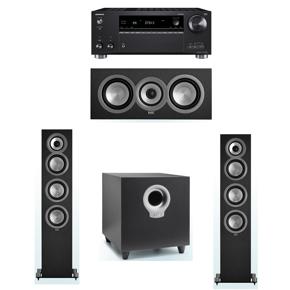 ELAC Uni-Fi 3.1 System with 2 UF5 Floorstanding Speakers, 1 UC5 Center Speaker, 1 ELAC Debut S10 Powered Subwoofer, 1 Onkyo TX-RZ720 Receiver