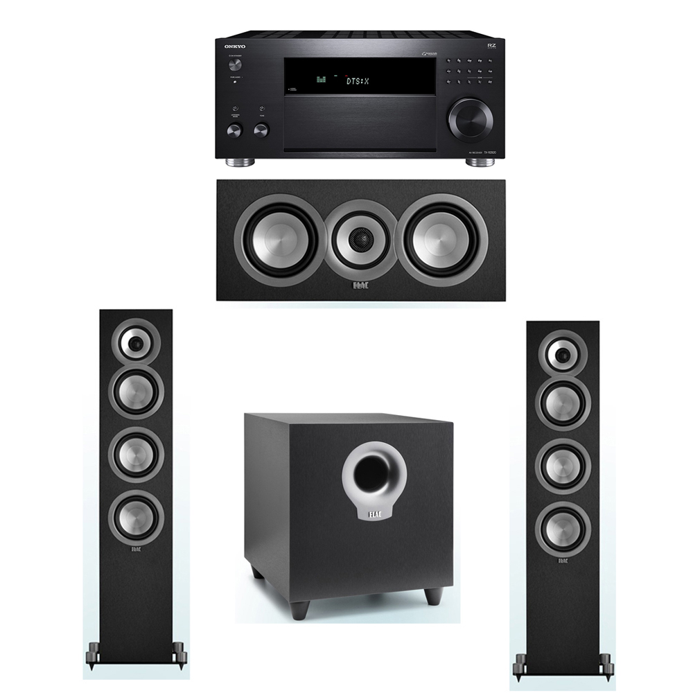 ELAC Uni-Fi 3.1 System with 2 UF5 Floorstanding Speakers, 1 UC5 Center Speaker, 1 ELAC Debut S10 Powered Subwoofer, 1 Onkyo TX-RZ820 A/V Receiver