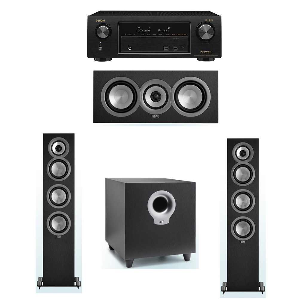 ELAC Uni-Fi 3.1 System with 2 ELAC UF5 Floorstanding Speakers, 1 ELAC UC5 Center Speaker, 1 ELAC Debut S10 Powered Subwoofer, 1 Denon AVR-X1400H Receiver