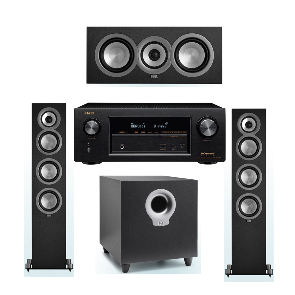 ELAC Uni-Fi 3.1 System with 2 ELAC UF5 Floorstanding Speakers, 1 ELAC UC5 Center Speaker, 1 ELAC Debut S10 Powered Subwoofer, 1 Denon AVR-X2300W A/V Receiver