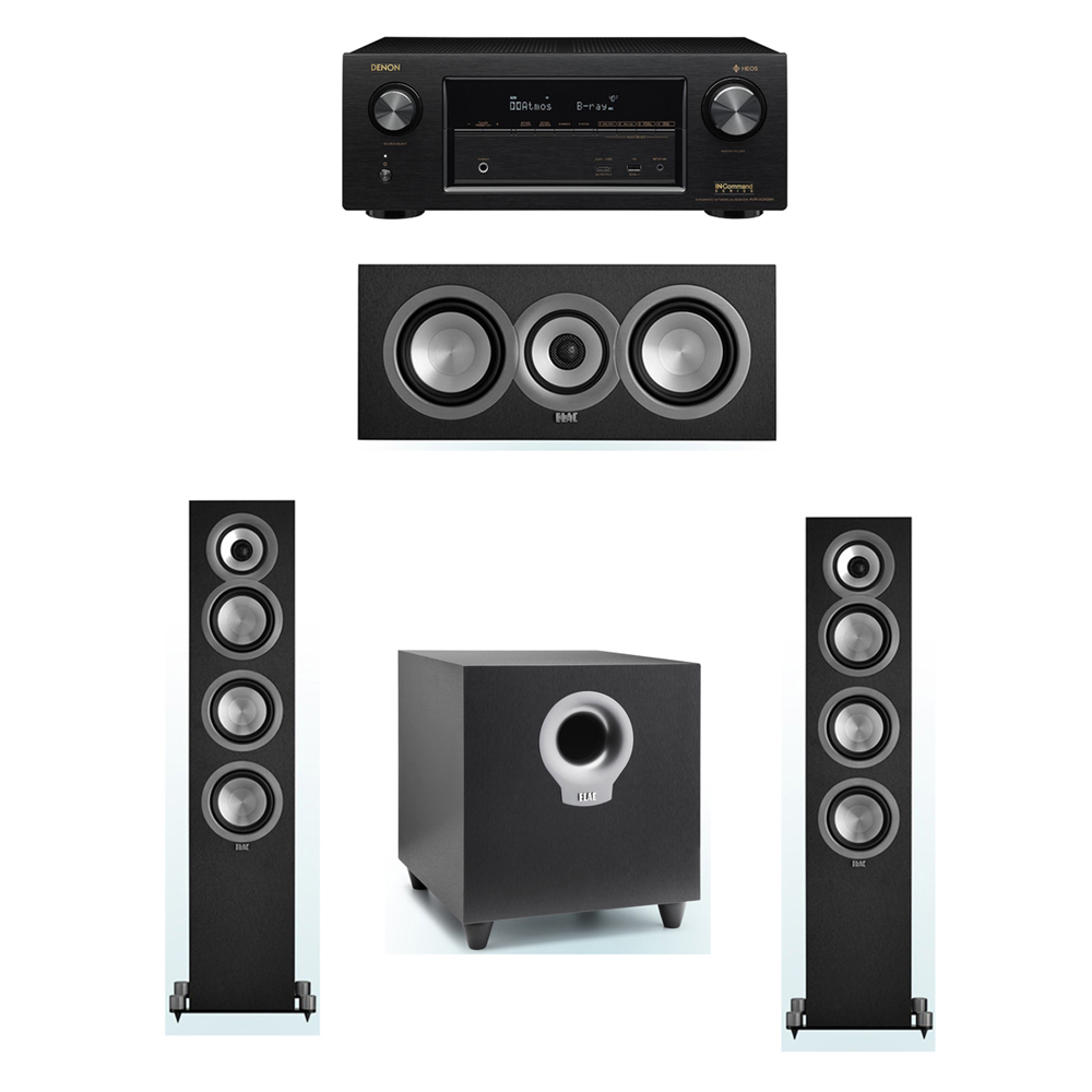 ELAC Uni-Fi 3.1 System with 2 ELAC UF5 Floorstanding Speakers, 1 ELAC UC5 Center Speaker, 1 ELAC Debut S10 Powered Subwoofer, 1 Denon AVR-X2400H A/V Receiver