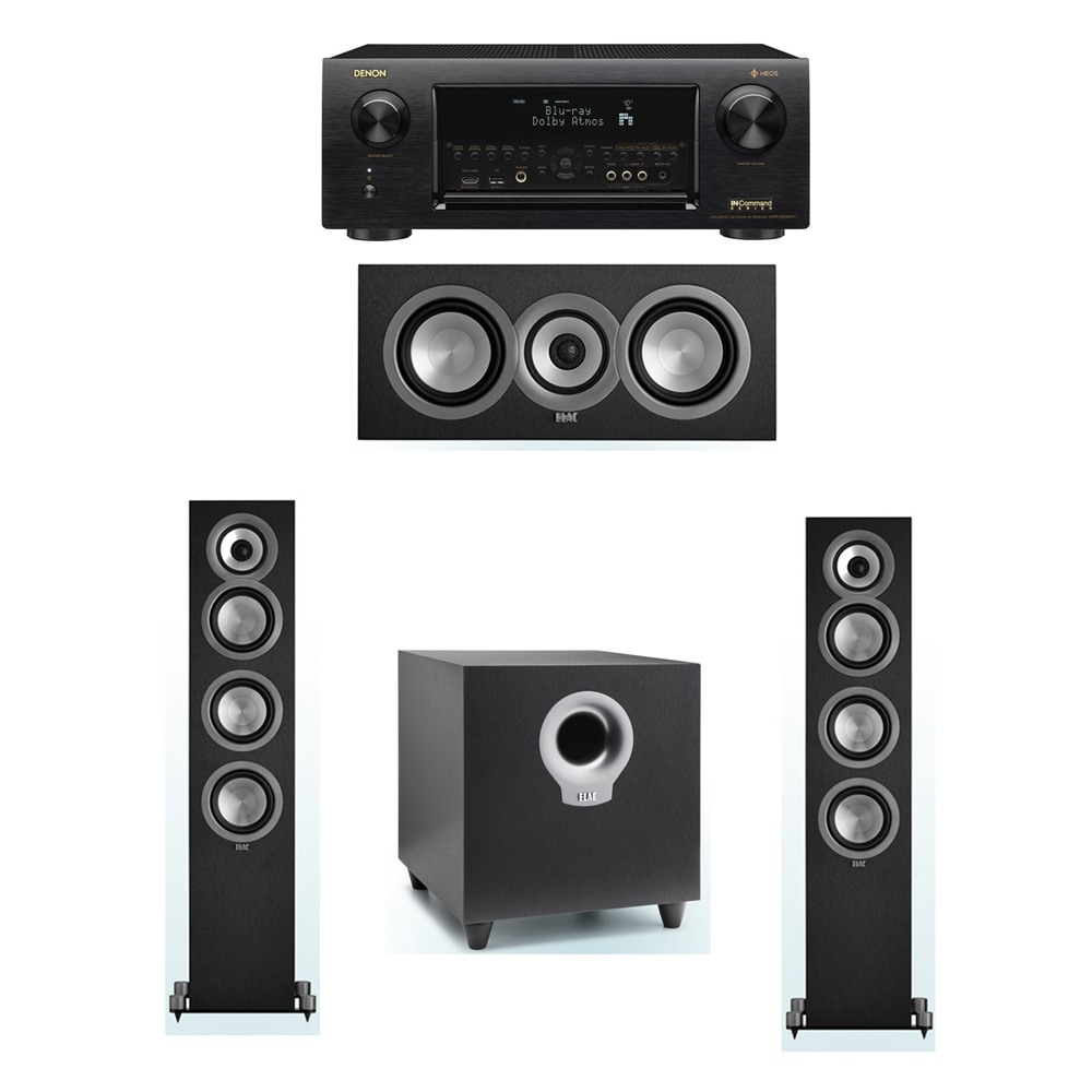 ELAC Uni-Fi 3.1 System with 2 ELAC UF5 Floorstanding Speakers, 1 ELAC UC5 Center Speaker, 1 ELAC Debut S10 Powered Subwoofer, 1 Denon AVR-X6300H Receiver