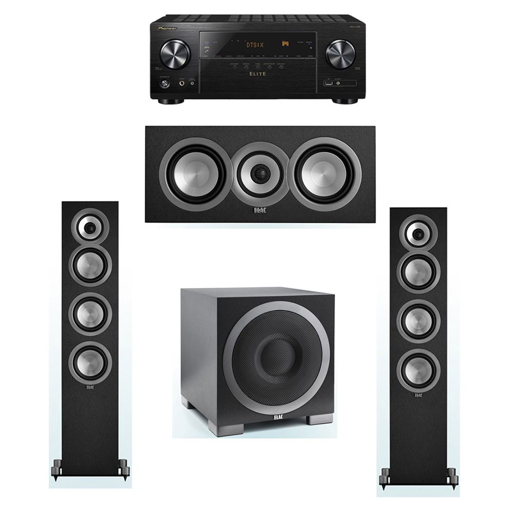 ELAC Uni-Fi 3.1 System with 2 ELAC UF5 Floorstanding Speakers, 1 UC5 Center Speaker, 1 ELAC Debut S10EQ Powered Subwoofer, 1 Pioneer VSX-LX102 A/V Receiver