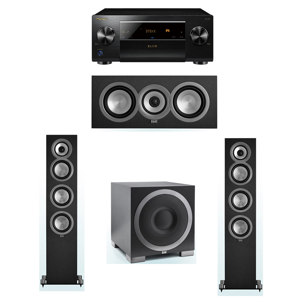 ELAC Uni-Fi 3.1 System with 2 ELAC UF5 Floorstanding Speakers, 1 UC5 Center Speaker, 1 ELAC Debut S10EQ Powered Subwoofer, 1 Pioneer SC-LX701 A/V Receiver