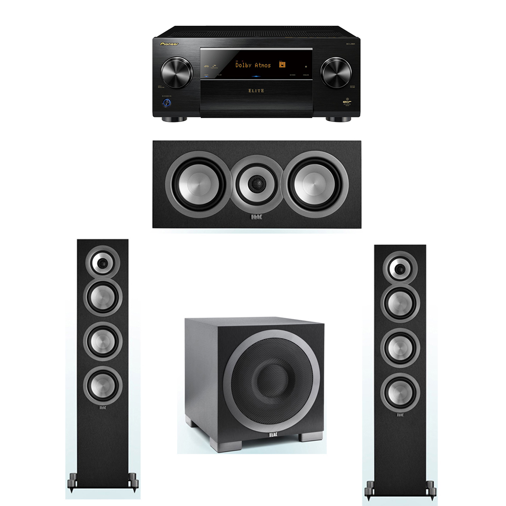 ELAC Uni-Fi 3.1 System with 2 ELAC UF5 Floorstanding Speakers, 1 UC5 Center Speaker, 1 ELAC Debut S10EQ Powered Subwoofer, 1 Pioneer SC-LX801 A/V Receiver