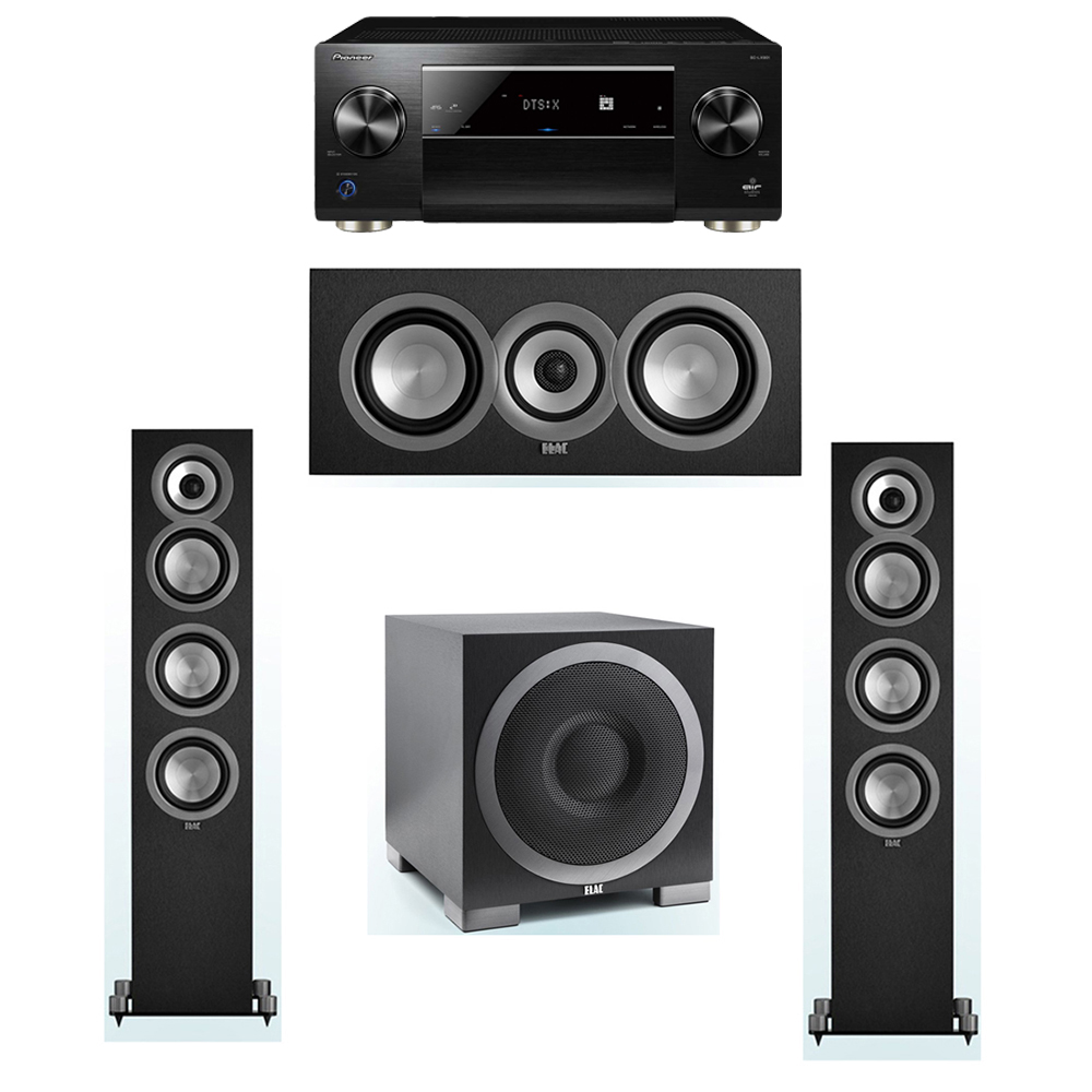 ELAC Uni-Fi 3.1 System with 2 ELAC UF5 Floorstanding Speakers, 1 UC5 Center Speaker, 1 ELAC Debut S10EQ Powered Subwoofer, 1 Pioneer SC-LX901 A/V Receiver