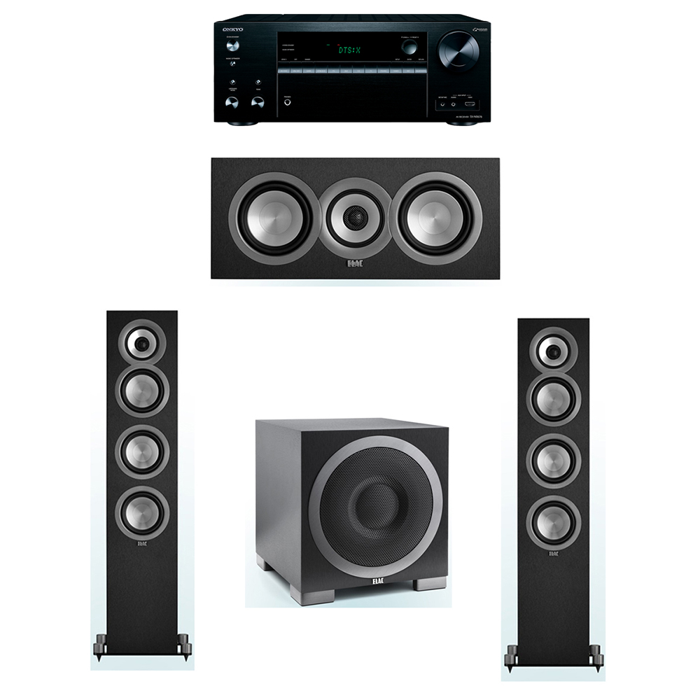 ELAC Uni-Fi 3.1 System with 2 UF5 Floorstanding Speakers, 1 UC5 Center Speaker, 1 ELAC Debut S10EQ Powered Subwoofer, 1 Onkyo TX-NR676 A/V Receiver