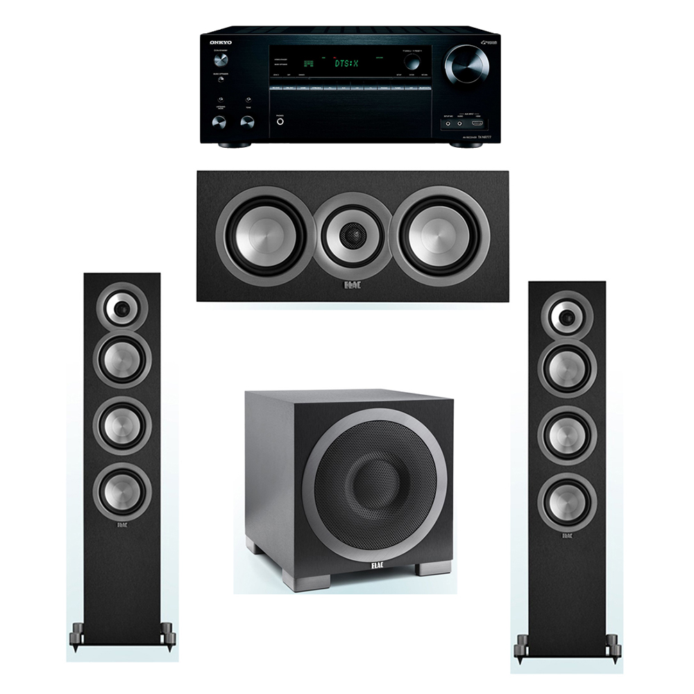ELAC Uni-Fi 3.1 System with 2 UF5 Floorstanding Speakers, 1 UC5 Center Speaker, 1 ELAC Debut S10EQ Powered Subwoofer, 1 Onkyo TX-NR777 A/V Receiver
