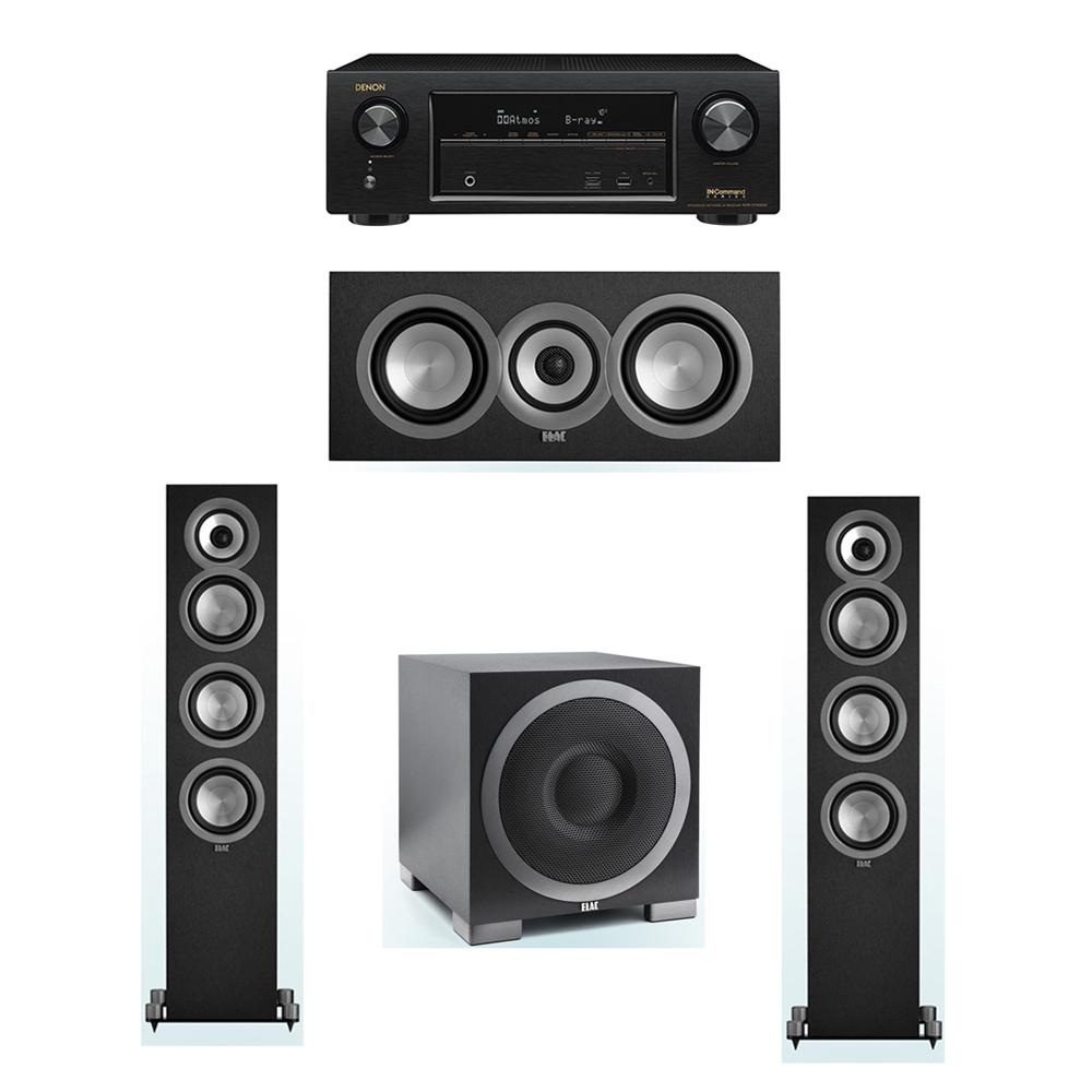ELAC Uni-Fi 3.1 System with 2 ELAC UF5 Floorstanding Speakers, 1 ELAC UC5 Center Speaker, 1 ELAC Debut S10EQ Powered Subwoofer, 1 Denon AVR-X1300W Receiver