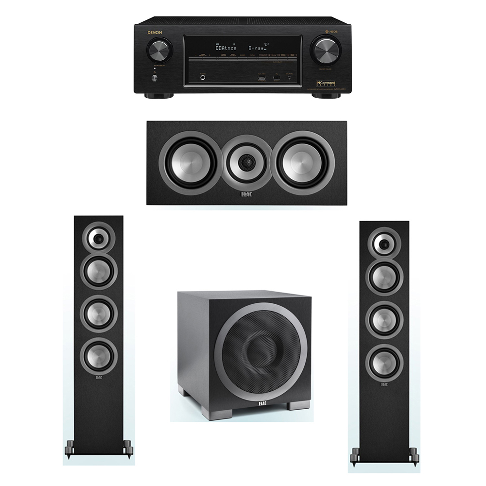 ELAC Uni-Fi 3.1 System with 2 ELAC UF5 Floorstanding Speakers, 1 ELAC UC5 Center Speaker, 1 ELAC Debut S10EQ Powered Subwoofer, 1 Denon AVR-X1400H Receiver