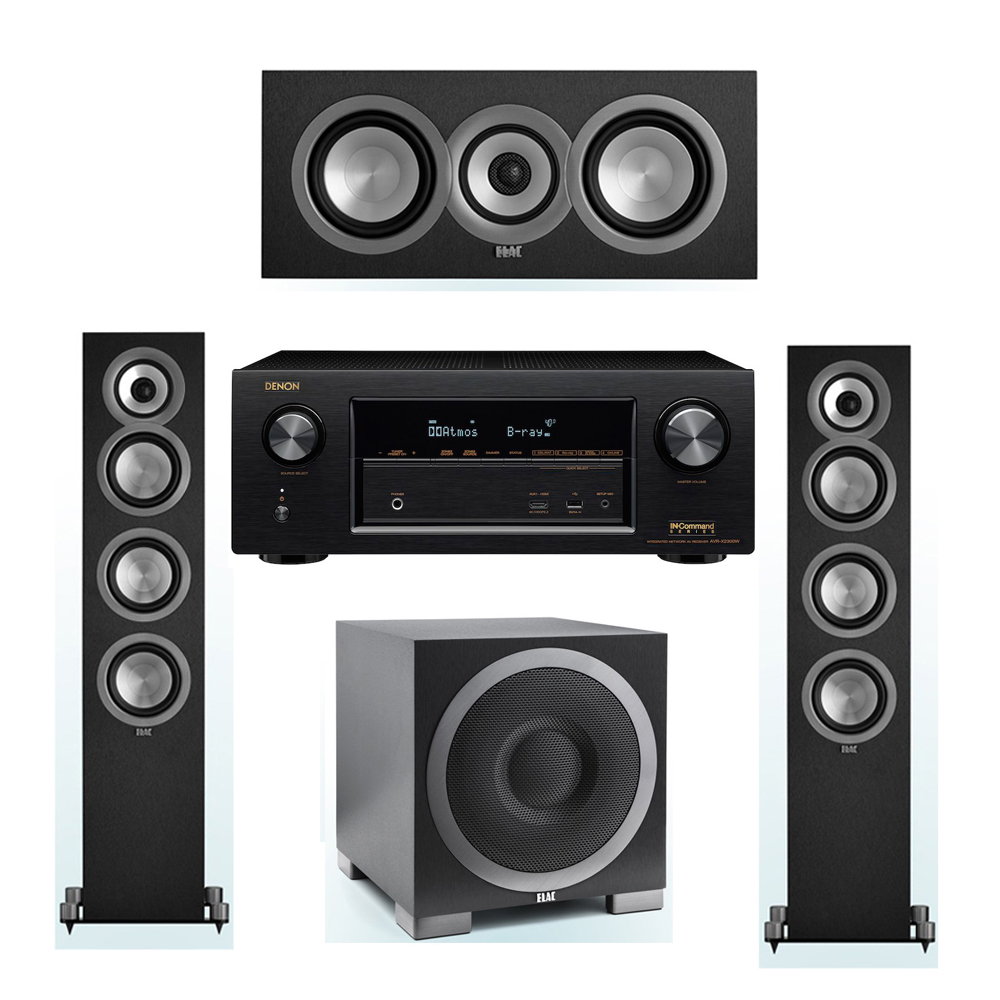 ELAC Uni-Fi 3.1 System with 2 ELAC UF5 Floorstanding Speakers, 1 ELAC UC5 Center Speaker, 1 ELAC Debut S10EQ Powered Subwoofer, 1 Denon AVR-X2300W A/V Receiver