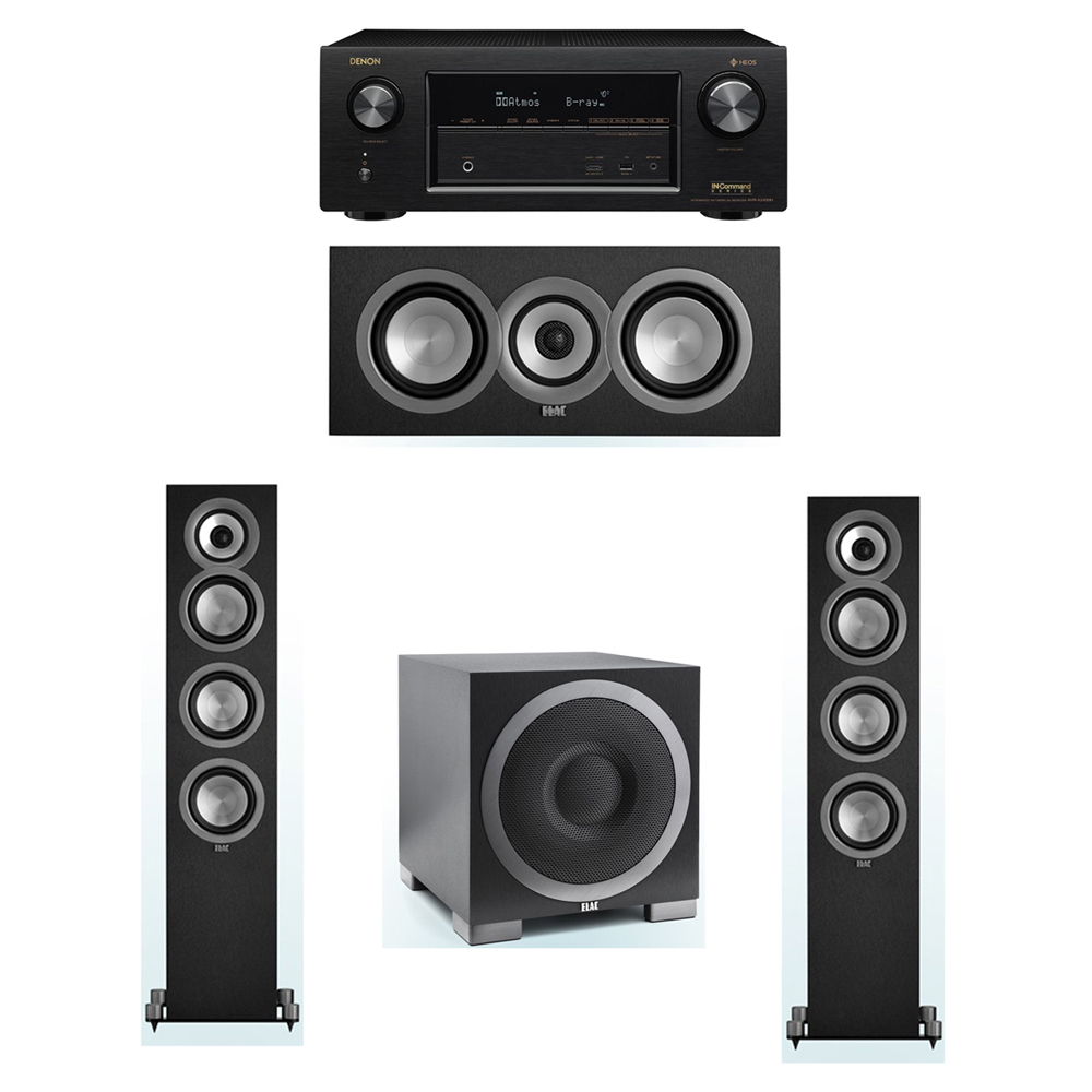 ELAC Uni-Fi 3.1 System with 2 ELAC UF5 Floorstanding Speakers, 1 ELAC UC5 Center Speaker, 1 ELAC Debut S10EQ Powered Subwoofer, 1 Denon AVR-X2400H A/V Receiver