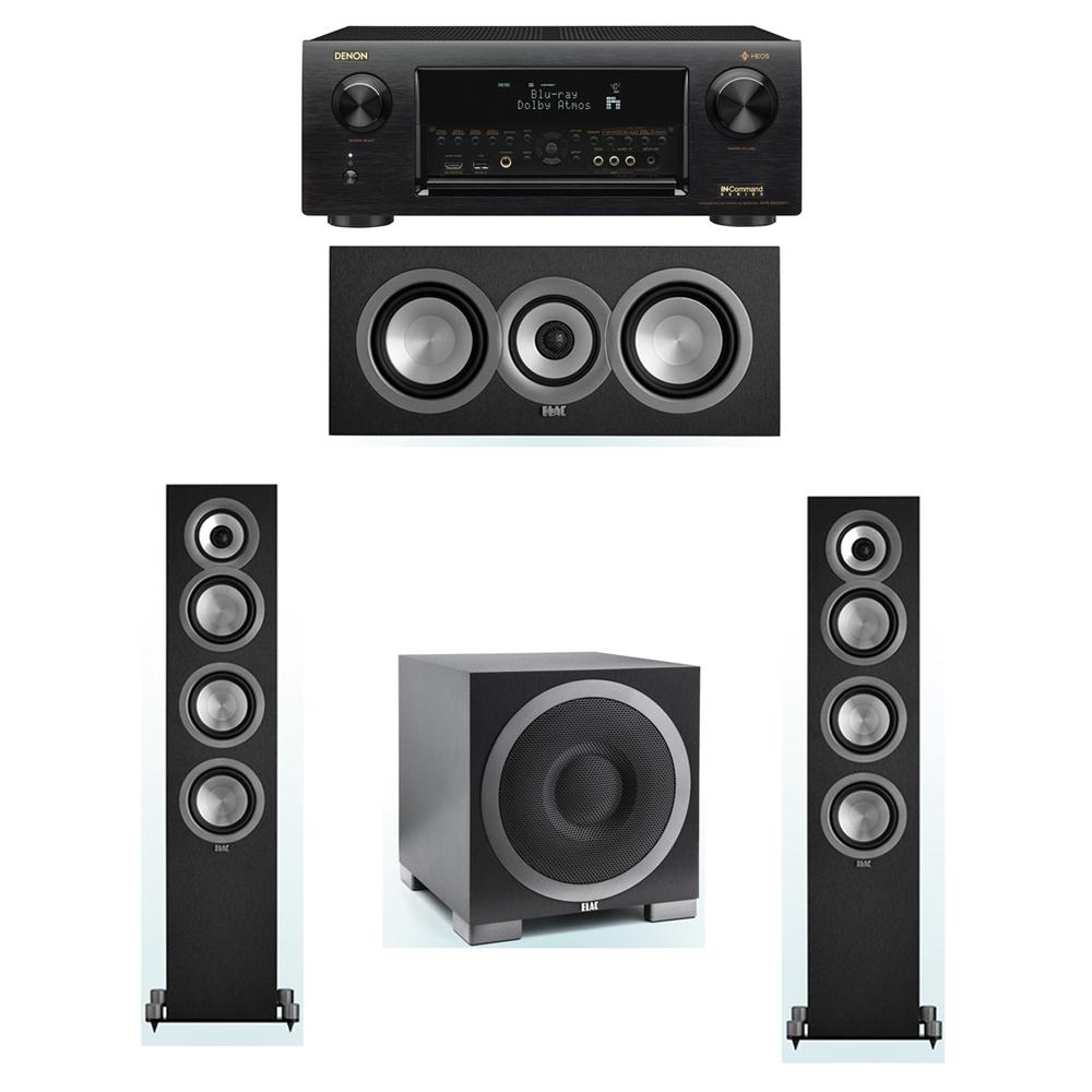 ELAC Uni-Fi 3.1 System with 2 ELAC UF5 Floorstanding Speakers, 1 ELAC UC5 Center Speaker, 1 ELAC Debut S10EQ Powered Subwoofer, 1 Denon AVR-X6300H Receiver