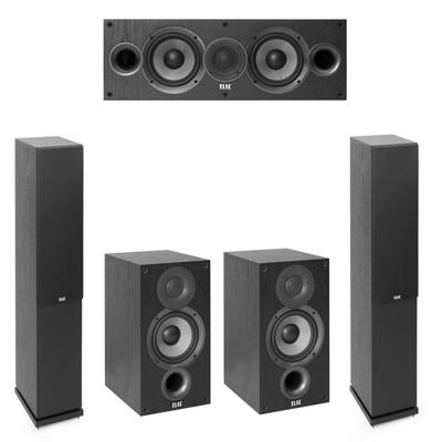 Elac 5.0 System with 2 F5.2 Floorstanding Speakers, 1 C5.2 Center Speaker, 2 B5.2 Bookshelf Speakers