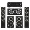 Elac 5.0 System with 2 Debut F5 Floorstanding Speakers, 1 Debut C5 Center Speaker, 2 Debut B6 Bookshelf Speakers, 1 Denon AVR-X1300W A/V Receiver