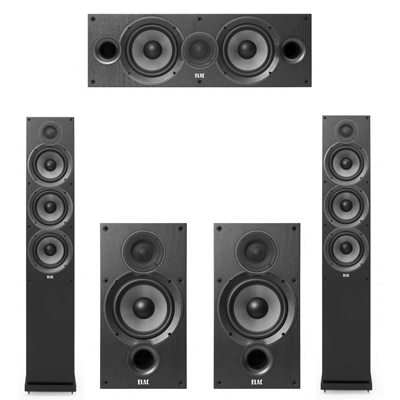 Elac 5.0 System with 2 F6.2 Floorstanding Speakers, 1 C6.2 Center Speaker, 2 B6.2 Bookshelf Speakers