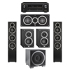 Elac 5.1 System with 2 Debut F5 Floorstanding Speakers, 1 Debut C5 Center Speaker, 2 Debut B4 Bookshelf Speakers, 1 Debut S10EQ Subwoofer, 1 Denon AVR-X1300W A/V Receiver