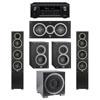 Elac 5.1 System with 2 Debut F5 Floorstanding Speakers, 1 Debut C5 Center Speaker, 2 Debut B4 Bookshelf Speakers, 1 Debut S10EQ Subwoofer, 1 Denon AVR-X2300W A/V Receiver