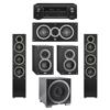 Elac 5.1 System with 2 Debut F5 Floorstanding Speakers, 1 Debut C5 Center Speaker, 2 Debut B4 Bookshelf Speakers, 1 Debut S12EQ Subwoofer, 1 Denon AVR-X1300W A/V Receiver