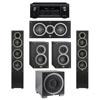 Elac 5.1 System with 2 Debut F5 Floorstanding Speakers, 1 Debut C5 Center Speaker, 2 Debut B4 Bookshelf Speakers, 1 Debut S12EQ Subwoofer, 1 Denon AVR-X2300W A/V Receiver