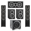 Elac 5.1 System with 2 Debut F5 Floorstanding Speakers, 1 Debut C5 Center Speaker, 2 Debut B4 Bookshelf Speakers, 1 Debut S12EQ Subwoofer