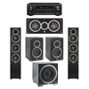 Elac 5.1 System with 2 Debut F5 Floorstanding Speakers, 1 Debut C5 Center Speaker, 2 Debut B5 Bookshelf Speakers, 1 Debut S10EQ Subwoofer, 1 Denon AVR-X1300W A/V Receiver