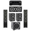 Elac 5.1 System with 2 Debut F5 Floorstanding Speakers, 1 Debut C5 Center Speaker, 2 Debut B5 Bookshelf Speakers, 1 Debut S10EQ Subwoofer, 1 Denon AVR-X2300W A/V Receiver