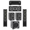 Elac 5.1 System with 2 Debut F5 Floorstanding Speakers, 1 Debut C5 Center Speaker, 2 Debut B5 Bookshelf Speakers, 1 Debut S12EQ Subwoofer, 1 Denon AVR-X1300W A/V Receiver