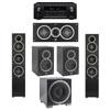 Elac 5.1 System with 2 Debut F5 Floorstanding Speakers, 1 Debut C5 Center Speaker, 2 Debut B5 Bookshelf Speakers, 1 Debut S12EQ Subwoofer, 1 Denon AVR-X2300W A/V Receiver