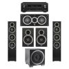 Elac 5.1 System with 2 Debut F5 Floorstanding Speakers, 1 Debut C5 Center Speaker, 2 Debut B6 Bookshelf Speakers, 1 Debut S10EQ Subwoofer, 1 Denon AVR-X1300W A/V Receiver