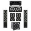 Elac 5.1 System with 2 Debut F5 Floorstanding Speakers, 1 Debut C5 Center Speaker, 2 Debut B6 Bookshelf Speakers, 1 Debut S10EQ Subwoofer, 1 Denon AVR-X2300W A/V Receiver