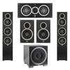 Elac 5.1 System with 2 Debut F5 Floorstanding Speakers, 1 Debut C5 Center Speaker, 2 Debut B6 Bookshelf Speakers, 1 Debut S10EQ Subwoofer