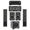 Elac 5.1 System with 2 Debut F5 Floorstanding Speakers, 1 Debut C5 Center Speaker, 2 Debut B6 Bookshelf Speakers, 1 Debut S12EQ Subwoofer, 1 Denon AVR-X1300W A/V Receiver