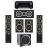 Elac 5.1 System with 2 Debut F5 Floorstanding Speakers, 1 Debut C5 Center Speaker, 2 Debut B6 Bookshelf Speakers, 1 Debut S12EQ Subwoofer, 1 Denon AVR-X2300W A/V Receiver