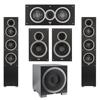 Elac 5.1 System with 2 Debut F5 Floorstanding Speakers, 1 Debut C5 Center Speaker, 2 Debut B6 Bookshelf Speakers, 1 Debut S12EQ Subwoofer