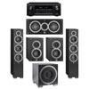 Elac 5.1 System with 2 Debut F6 Floorstanding Speakers, 1 Debut C5 Center Speaker, 2 Debut B4 Bookshelf Speakers, 1 Debut S10EQ Subwoofer, 1 Denon AVR-X2300W A/V Receiver