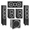 Elac 5.1 System with 2 Debut F6 Floorstanding Speakers, 1 Debut C5 Center Speaker, 2 Debut B4 Bookshelf Speakers, 1 Debut S10EQ Subwoofer