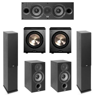 Elac 5.2 System with 2 F5.2 Floorstanding Speakers, 1 C5.2 Center Speaker, 2 B5.2 Bookshelf Speakers, 2 BIC/Acoustech Platinum Series PL-200 Subwoofers