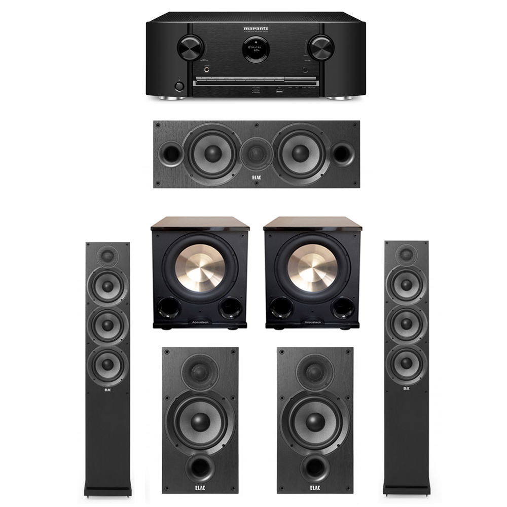 ELAC Debut 5.2 System with 2 F6.2 Tower Speakers, 1 C6.2 Center Speaker, 2 B6.2 Bookshelf Speakers, 2 BIC/Acoustech Platinum Series PL-200 II Subwoofers, 1 Marantz SR5012 Receiver