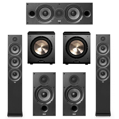 Elac 5.2 System with 2 F6.2 Floorstanding Speakers, 1 C6.2 Center Speaker, 2 B6.2 Bookshelf Speakers, 2 BIC/Acoustech Platinum Series PL-200 Subwoofers