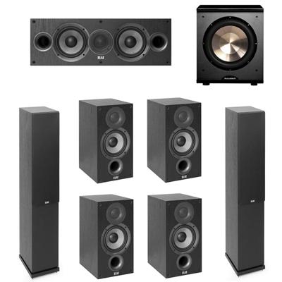 Elac 7.1 System with 2 F5.2 Floorstanding Speakers, 1 C5.2 Center Speaker, 4 B5.2 Bookshelf Speakers, 1 BIC/Acoustech Platinum Series PL-200 Subwoofer