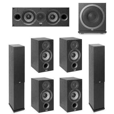 Elac 7.1 System with 2 F5.2 Floorstanding Speakers, 1 C5.2 Center Speaker, 4 B5.2 Bookshelf Speakers, 1 Elac SUB3010 Subwoofer
