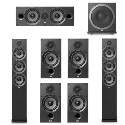 Elac 7.1 System with 2 F6.2 Floorstanding Speakers, 1 C6.2 Center Speaker, 4 B6.2 Bookshelf Speakers, 1 Elac SUB3010 Subwoofer