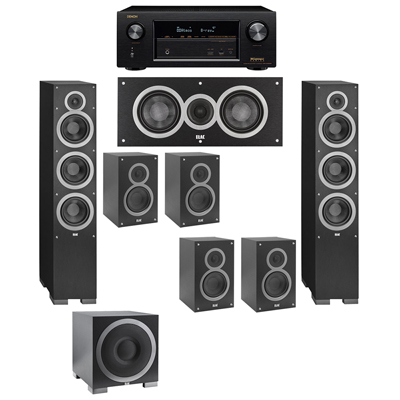 Elac 71 System With 2 Debut F6 Floorstanding Speakers 1 C5 Center Speaker 4 B5 Bookshelf S12EQ Subwoofer