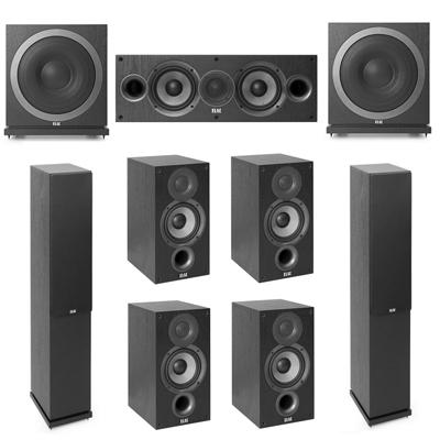 Elac 7.2 System with 2 F5.2 Floorstanding Speakers, 1 C5.2 Center Speaker, 4 B5.2 Bookshelf Speakers, 2 Elac SUB3010 Subwoofers